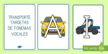 Transporte tarjetas de fonemas: Vocales - Transporte, proyecto, coche, avión, tren, bici, bicicleta, helicóptero, camión, coete, furgoneta,