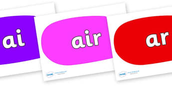 Phase 3 Phonemes on Speech Bubbles (Multicolour) - Phonemes, phoneme, Phase 3, Phase three, Foundation, Literacy, Letters and Sounds, DfES, display