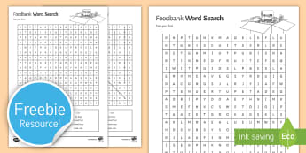 Food bank Word Search - Food Bank, foodbank, hunger, charity, volunteer, community, food parcels, crisis.