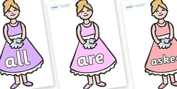 Tricky Words on Bridesmaids - Tricky words, DfES Letters and Sounds, Letters and sounds, display, words