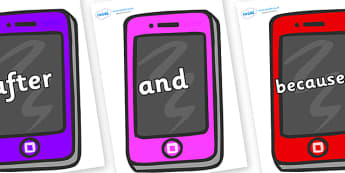 Connectives on Mobile Telephones - Connectives, VCOP, connective resources, connectives display words, connective displays