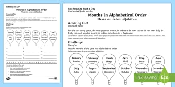 Months in Alphabetical Order Activity Sheet English/Portuguese - Amazing Fact Of The Day, activity sheets, powerpoint, starter, morning activity, november, months, a