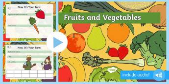 Fructe și legume în limba engleză PowerPoint  - vocabular în engleză,  comunicare în engleză, pronunție în engleză, activități de comunicar