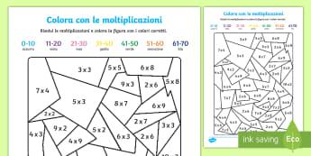 Colora con le moltiplicazioni Attività - colora, con, le moltiplicazioni, moltiplica, calcoli, italiano, italian, matematica, materiale, scol