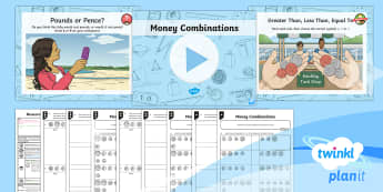 PlanIt Y3 Measurement Lesson Pack Money (1) - money problems, greater than, less than, compare, combinations, coins. Add and subtract amounts of m