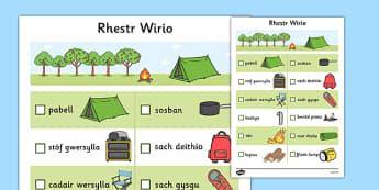 Rhestr Wirio Trip Gwersylla - welsh, cymraeg, camping trip, checklist, hunt, camping, trip, gwersylla, trip