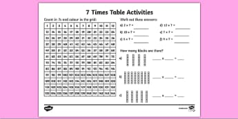 7 Times Table Activity Sheet -six times table, maths, mathematics, multiplication, multiply, times, worksheet, times table, times tables