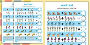 Roald Dahl Addition Sheet - roald dahl, addition sheet, roald dahl addition sheet, maths aid, roald dahl themed, themed addition sheets
