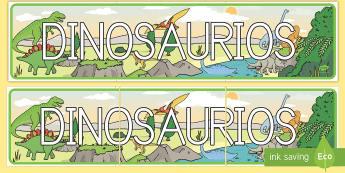 Pancarta de dinosaurios - Dinosaurios, pre-historia, dinos, tyranosaurio, estegosaurio, triceratops, proyectos, aprendizaje ba