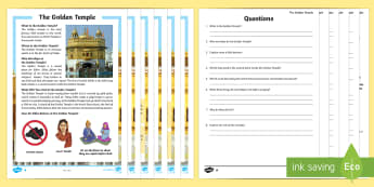 The Golden Temple Differentiated Reading Comprehension Activity - religion, Sikh, guru, sacred, khanda, Amritsar, gurdwara, sewadar, pangat, langar, ritual, yatra, Gu