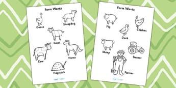 Coloriages : Les animaux de la ferme - Anglais LV - ferme, farm, vache, cow, cochon, pig, poule, chicken, canard, duck, old mac donald, chanson, song, comptine, cycle 1, cycle 2, anglais, langue vivante
