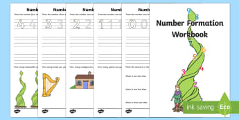 Jack and The Beanstalk Number Formation Activity Booklet - Number Formation, Number Recognition.,Australia, traditional tales, handwriting, counting , overwriting