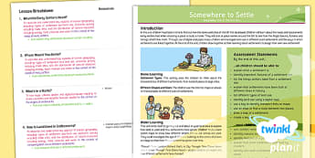 PlanIt - Geography Year 4 - Somewhere to Settle Planning Overview - geography, settlement, settlers, land use, overview, somewhere to settle