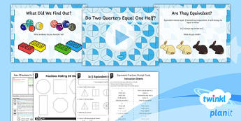 PlanIt Y2 Fractions Lesson Pack - Fractions, 1/2, /2/4, half, halves, quarter, same, equal, equivalent, identical, denominator, numera