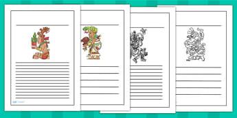 Maya Gods Writing Frames - writing template, mayans, ancient maya