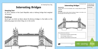 Interesting Bridges Activity Sheet - Amazing Fact Of The Day, activity sheets, powerpoint, starter, Worksheet, morning activity, May, bri