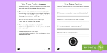 Solar Eclipse Pop Quiz - Total, Partial, Annular, Space, science, light, sun, moon,