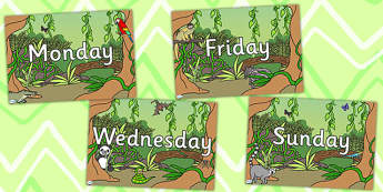 Jungle Themed Days of the Week Posters - animals, week days, days