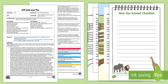 EYFS New Zoo Animal Checklist Adult Input Plan and Resource Pack - Early Years Planning, Adult Led, Foundation, List, Emergent Writing, Blending, Segmenting, Phonics,