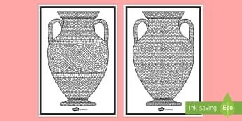 Roman Mosaic Vase Design Activity Sheet  - Roman Mosaic Colouring Sheet  - , display, poster, roman, mosaic, mosiac, mosaci, Colouring, color,