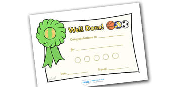 Sport Sticker Reward Certificates (15mm) - Sport Reward Certificate (15mm), reward certificate, certificate, sport, reward, 15mm, 15 mm, stickers, twinkl stickers, award, certificate, well done, behaviour management, behaviour, sport, sports, footbal