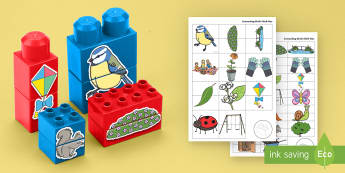Parks and Gardens Matching Connecting Bricks Game - EYFS, Early Years, KS1, Connecting Bricks Resources, duplo, lego, plastic bricks, building bricks, p