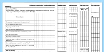 Second Level Guided Reading Questions - CfE, reading questions, tracking