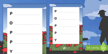 Remembrance Day Poppy Acrostic Poem