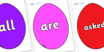 Tricky Words on Easter Eggs (Coloured) - Tricky words, DfES Letters and Sounds, Letters and sounds, display, words