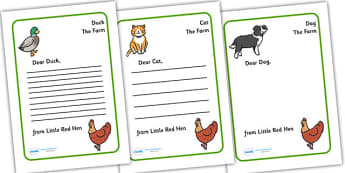 Little Red Hen Letter from Hen Writing Template - Little Red Hen, letter, writing activity, independent writing, Traditional tales, tale, fairy tale, little red hen, cat, dog, horse, grain, wheat, flour, bread, no I, I will