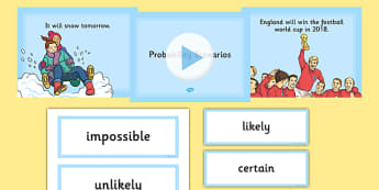 Probability Scenario PowerPoint and Cards Pack - KS2, Key Stage 2, Probability, Impossible, Unlikely, Likely, Certain, Scenarios