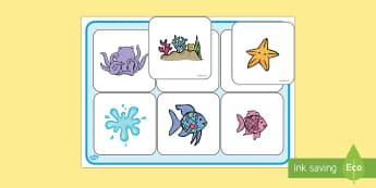 El pez arcoiris Ficha de emparejar palabra con dibujo