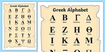 Ancient Greek Alphabet Poster - greek alphabet poster, greek alphabet, ancient greece, ancient greece poster, greek history, ks2 history, history poster