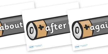 KS1 Keywords on Batteries - KS1, CLL, Communication language and literacy, Display, Key words, high frequency words, foundation stage literacy, DfES Letters and Sounds, Letters and Sounds, spelling
