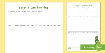Years 3 and 4 Chapter Chat Week 2 Design a Leprechaun Trap Activity Sheet to Support Teaching On The Lonely Lake Monster by Suzanne Selfors - literacy, reading, worksheet, chapter chat, year 3, year 4, lonely lake monster, suzanne selfors