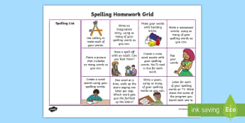 First Level Spelling CfE Homework Grid - Vowel Sounds, Phonics, Read Write Inc, Sounding Out, Tallying, Fred Talk, Homework, Active Learning,