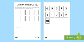 Ordering Numbers 0 to 10 Activity English/Romanian - ordering numbers, 1 -10, 0-10, less than 10, practise, number, number sequence, maths, counting,Roma