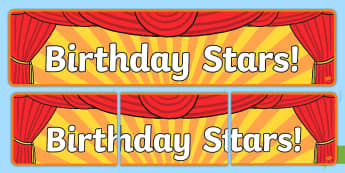 Birthday Stars Display Banner - Signs and Labels, birthdays, display, months, year, films, cinema, movies
