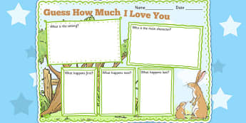 Guess How Much I Love You Story Review Writing Frame - write