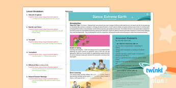 PlanIt PE Year 3 Dance Extreme Earth Planning Overview - planning, assessment, progress, monitoring, dance, PE