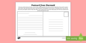 Postcard from Diarmuid Activity Sheet - Myths, Legends, Irish Tales, Celtic, The Fianna,Irish, worksheet