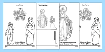 Mary Colouring Sheets May the Month of Mary - Mary, Our Lady, May, Mary in May, hail mary, religion, may altar, colouring sheets, sacred space, display