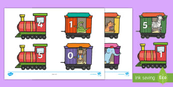 'Number Bonds to 10 on Trains and Carriages Cut-Outs - Number Bonds to 5 on Trains and Carriages Cut-Outs - Counting in 5s Train, Counting, Numberline, Num