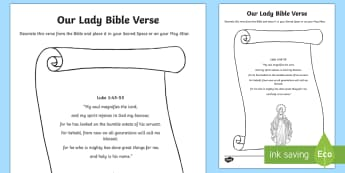 Our Lady Bible Verse Activity Sheet - Bible verse,Mary, Our Lady, religion, sacred space, may altar, religion, catholic, Christianity, Que