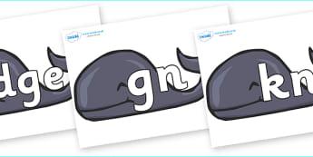 Silent Letters on Whales - Silent Letters, silent letter, letter blend, consonant, consonants, digraph, trigraph, A-Z letters, literacy, alphabet, letters, alternative sounds