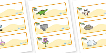 Safari Themed Editable Drawer-Peg-Name Labels - Themed Classroom Label Templates, Resource Labels, Name Labels, Editable Labels, Drawer Labels, Coat Peg Labels, Peg Label, KS1 Labels, Foundation Labels, Foundation Stage Labels, Teaching Labels