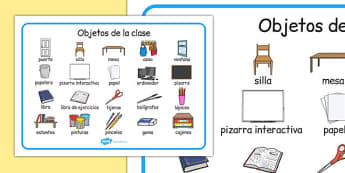 Objetos de la clase Word Mat Spanish - spanish, classroom objects, classroom, objects, word mat, word, mat