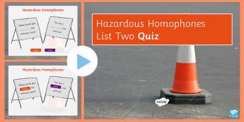 Hazardous Homophones List Two PowerPoint Game - KS3, SPAG, Spelling, Homophone, Homophones, activity, Game