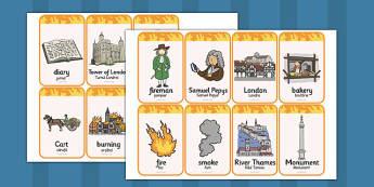 The Great Fire of London Flashcards Romanian Translation - romanian