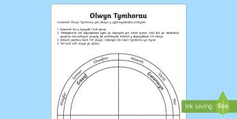 Olwyn Tymhorau Taflen Weithgaredd - Dysgu Cymraeg fel Ail Iaith, tymhorau, trefn misoedd, olwyn tymhorau, Seasons wheel cymraeg,Tywydd,W